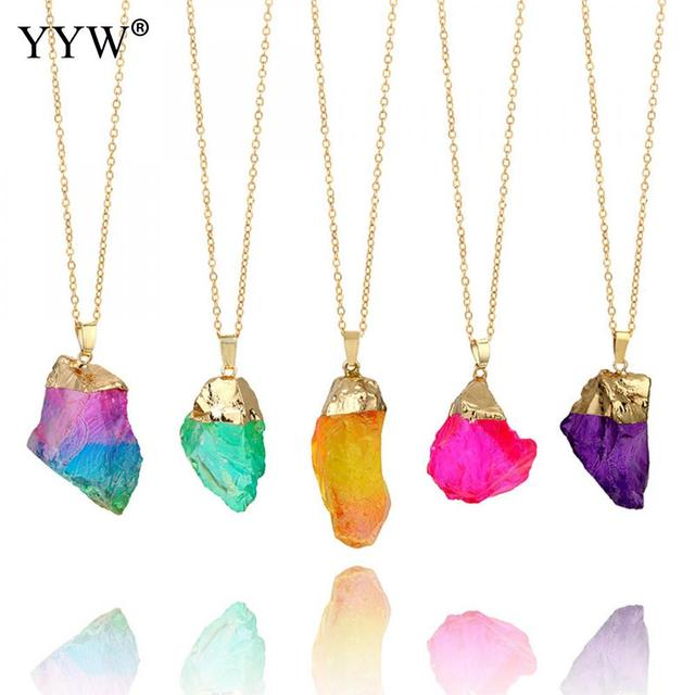 Trendy 8 colors irregular natural stone pendant necklaces for women trendy 8 colors irregular natural stone pendant necklaces for women ice quartz stone diy necklace charms aloadofball Image collections