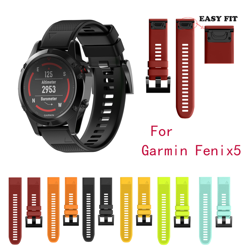 BUMVOR Watchband Strap for Garmin Fenix 5 Easy Fit Replacement Band for forerunner 935 GPS Watch Silicone Easyfit WristBand eache 26mm hand made crazy horse genuine leather replacement watch band strap fit for garmin fenix 3 silver black buckle