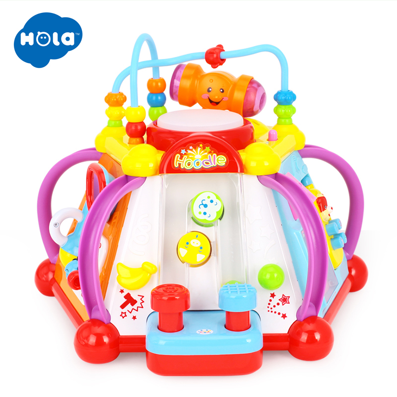 HOLA 806 Baby Toys Musical Activity Cube Toy Learning Educational Game Play Center Toy with Lights