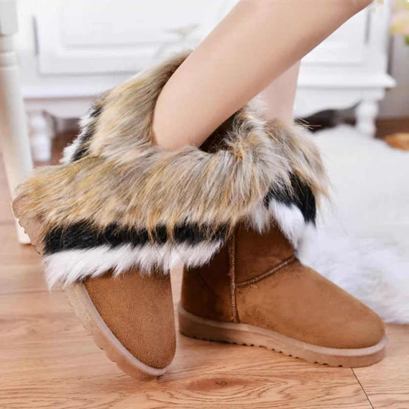 Kış kar botları kadın Faux kürk ayak bileği patik kadın Slip-On sıcak moda ayakkabılar bayanlar düz rahat ayakkabı artı boyutu