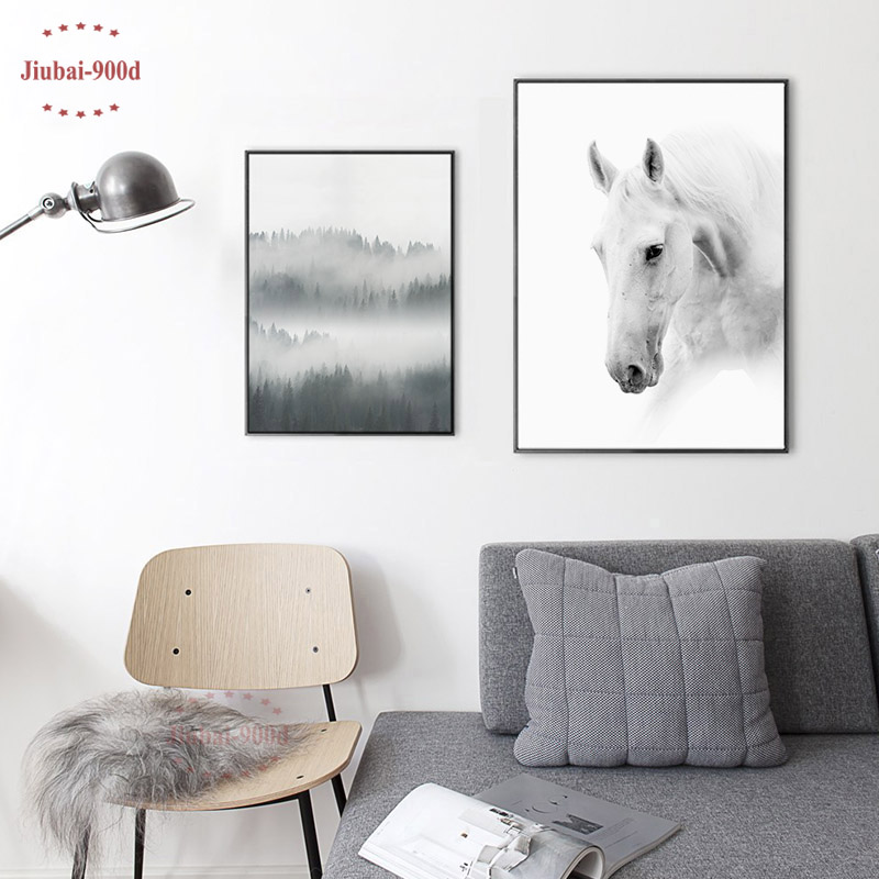 900D Nordic Style Canvas Art Print Painting Poster, Horse Wall Pictures for Home Decoration, Wall Decor NOR41