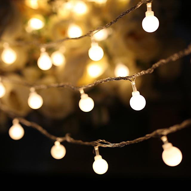 AC220V 100 cm 100 led lámpara de la secuencia de la Bola LED de iluminación Al Aire Libre Transparente alambre de jardín de la boda de hadas de Navidad colgante bombilla