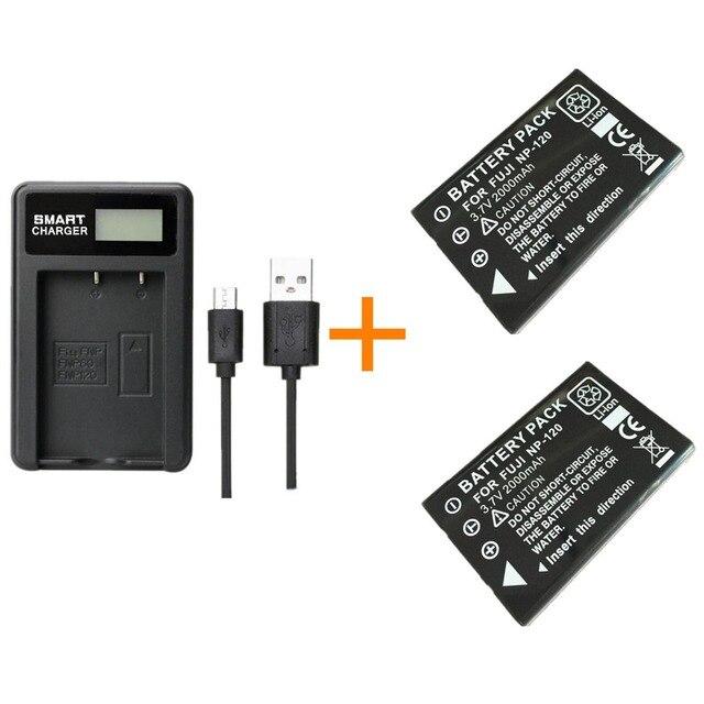 2 pcs 2000 mAh NP 120 NP 120 Bateria com carregador para Fuji NP120 BP1500 DL17 Kyocera Contax Pentax RICOH DB 43 FinePix F11 M603