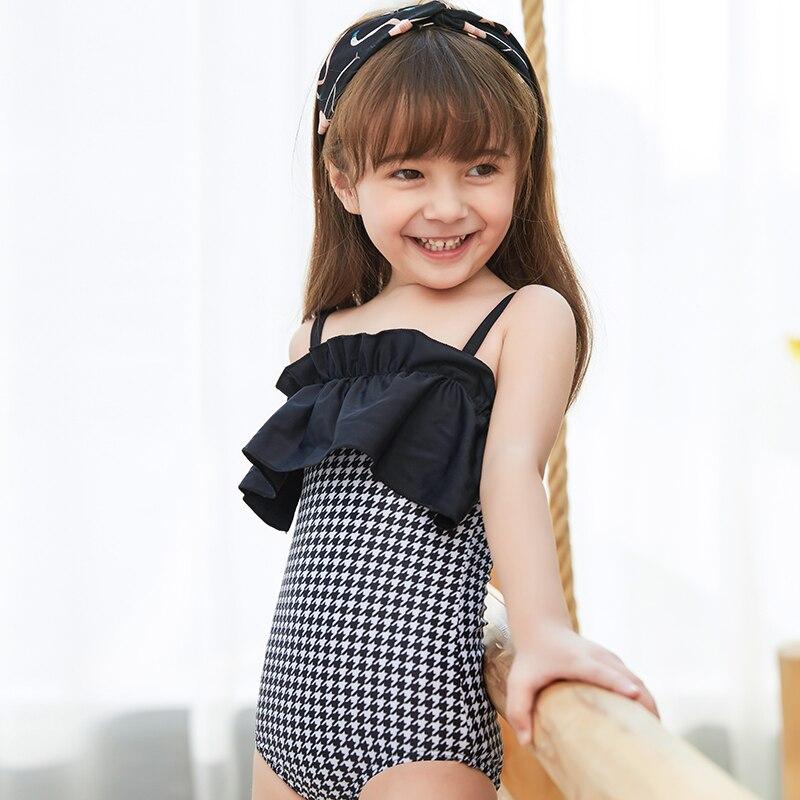 2019 New Baby Girl's Swimsuit Kid's One Piece Swimwear Children Solid Bodysuit  Flounce Swimsuit For Girl Beachwear Monokini