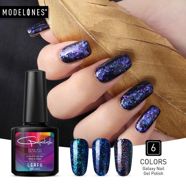 US $1.92 48% OFF|Modelones Newest 10ML Chameleon Galaxy UV Nail Gel Polish  DIY Glitter Nail Art Led UV Nail Polish Led Lamp Sequins Nail Varnish-in ...