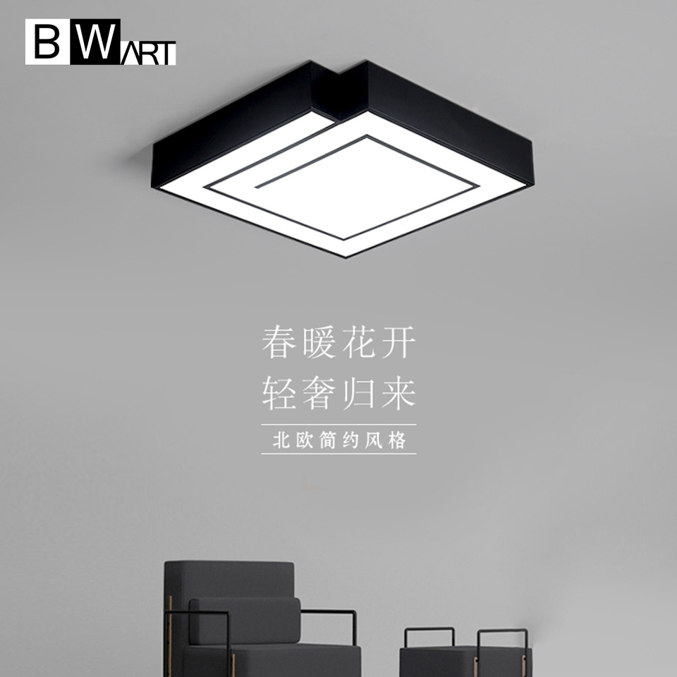 Us 89 25 25 offbwart black white modern led ceiling light remote ceiling lamp square surface mounted abajour luminaria luster for bedroom in