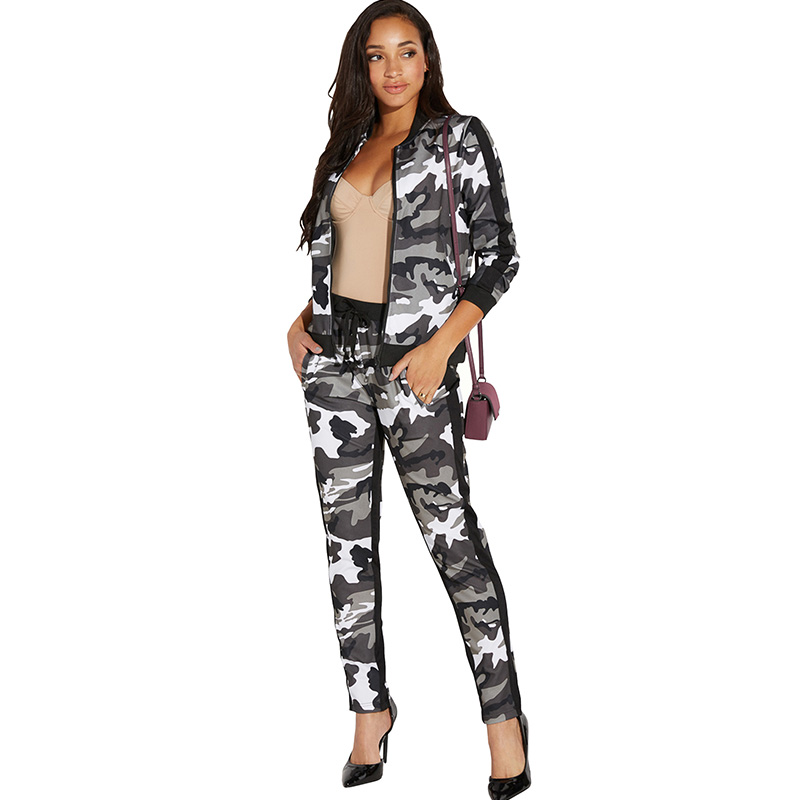 Women Camouflage 2 Piece Set Zip Long Sleeve Jacket Top And Pants Femme Outfits Casual Tracksuit Joggers Sweatpants Sweat Suits