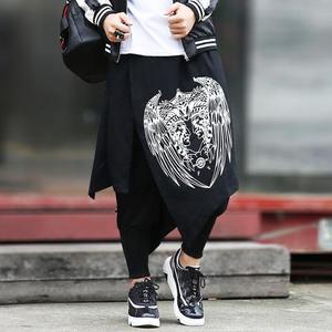Image 2 - Nova Hop calças homens maré personalidade culottes Falso dois saia calça casual calças hairstylist boate DJ estágio cantor trajes