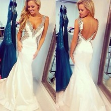 Elegant White Taffeta Sexy V-Neck Backless Long Mermaid Prom Dresses 2015 New Arrival vestidos de fiesta for Party Evening Gown