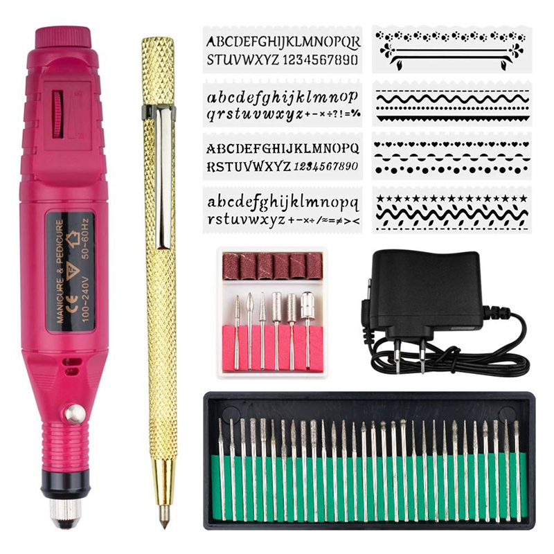 Electric Micro-Engraver Pen Mini Diy Vibro Engraving Tool Kit For Metal Glass Ceramic Plastic Wood Jewelry With 6 Polishing He