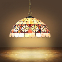 Mediterranean Style Tiffany Shell Ceiling Lamp 20 25 30 35 40cm E27 AC 110 240V LED