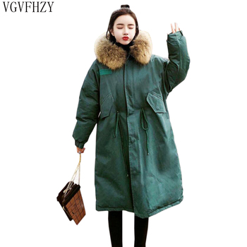 Winter Down Jacket Women 2018 Big Fur Collar Hooded White Duck Down Long Parkas Thick Warm Coat Female Snow Outerwear LY1205