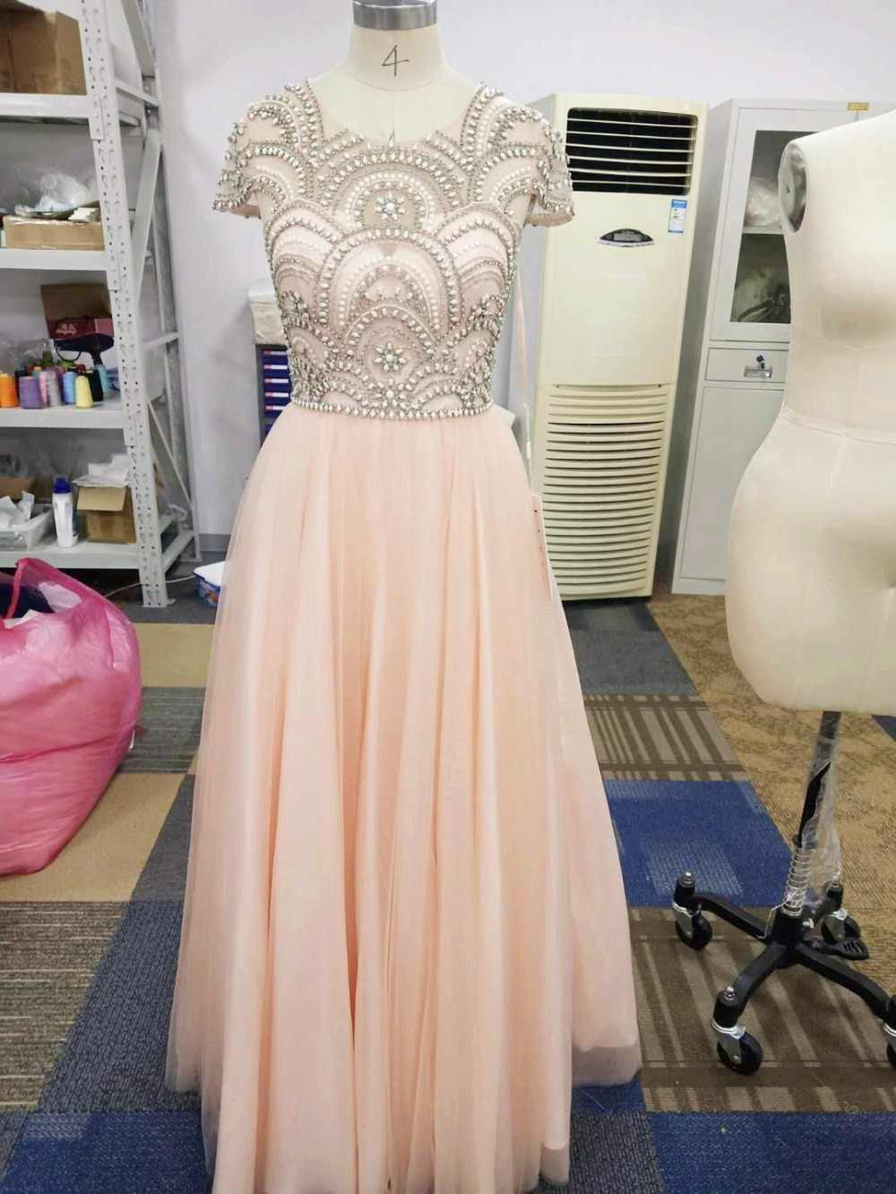bacaba975455eb ... Formal Ball Gown Evening Dresses 2019 Elegant Blush Tulle Cap Sleeve  Beading Prom Maxi Party Gowns ...