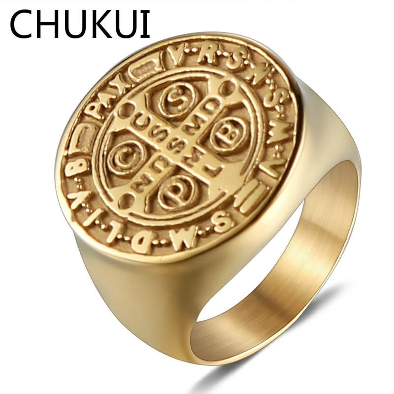 CHUKUI Men Stainless Steel Punk Cool Rings Saint Benedict Golden Tone Church Religious Jesus Christ Cross Ring Knight Jewelry