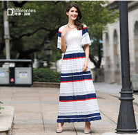DF Plus Size Dress Xxxl Women Mesh Striped Long Dress Patchwork Tank Dress Summer High Quality