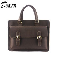 DALFR Leather Handbags 18 Inch Solid Messenger Bags Fashion Style Men's Leather Crossbody Bags Shoulder Bags for Men