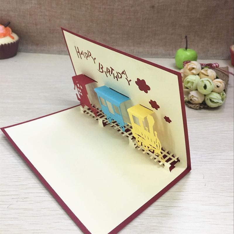1pcs Happy Train Laser Cut Paper Greeting 3D Pop Up Kirigami Card Wedding Invitation Birthday Valentine's Day Postcards Gifts (4)