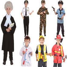 Kids Halloween Fire Costume Children Day Police Attorney Pilot Doctor Worker Performance Boy Girl Cosplay