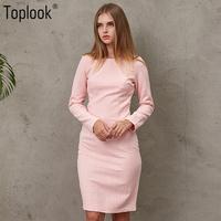 Toplook Pink Jacquard Vintage Womens Dress Winter Dresses Women 2017 Solid Long Sleeve Vestidos Knee Length