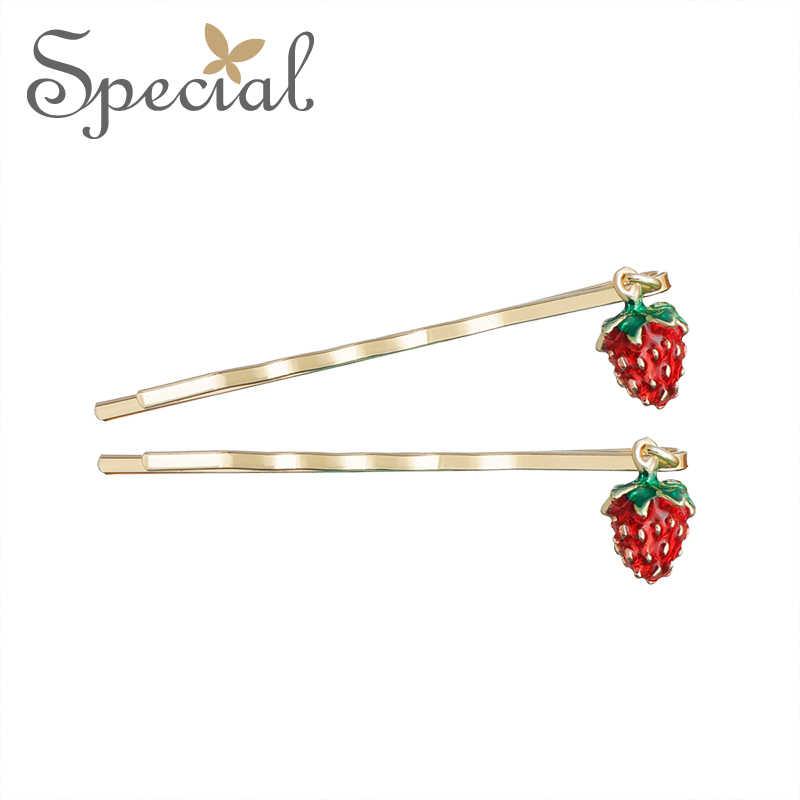 Khusus Fashion Strawberry Rambut Pins Klip Enamel Kartun Aksesoris Rambut Fruite Jepit Rambut Perhiasan Hadiah untuk Wanita S1740H