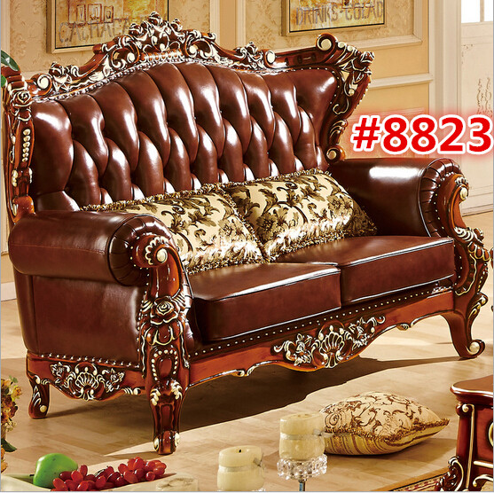 Large Luxury Sectional Sofas: Solid Teak Wood Carving Sofa Two Seater Luxury Sofa 8823
