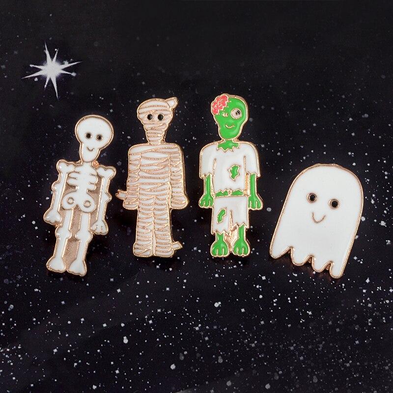 Happy-Halloween-Day-of-the-Dead-Cartoon-Cute-Zombie-Family-Skeleton-Skull-Bandage-Mummy-Ghost-Specter