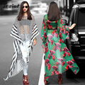 JRQIOT  2016 Hot Autumn Leisure Long Section Dress Batwing Sleeve Natural Sexy O-Neck Asymmetrical Beach Dresses Through