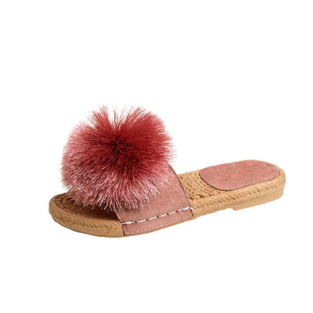 New 2018 Summer Cute Slipper Shoes Women Sandals Fashion Flip Flops Summer Style Hair ball Flats Solid Slippers Sandal Flat 2015 summer new fashion and leisure solid cool women sandls flat buckle knot women sandal breathable comfort women sandals e309