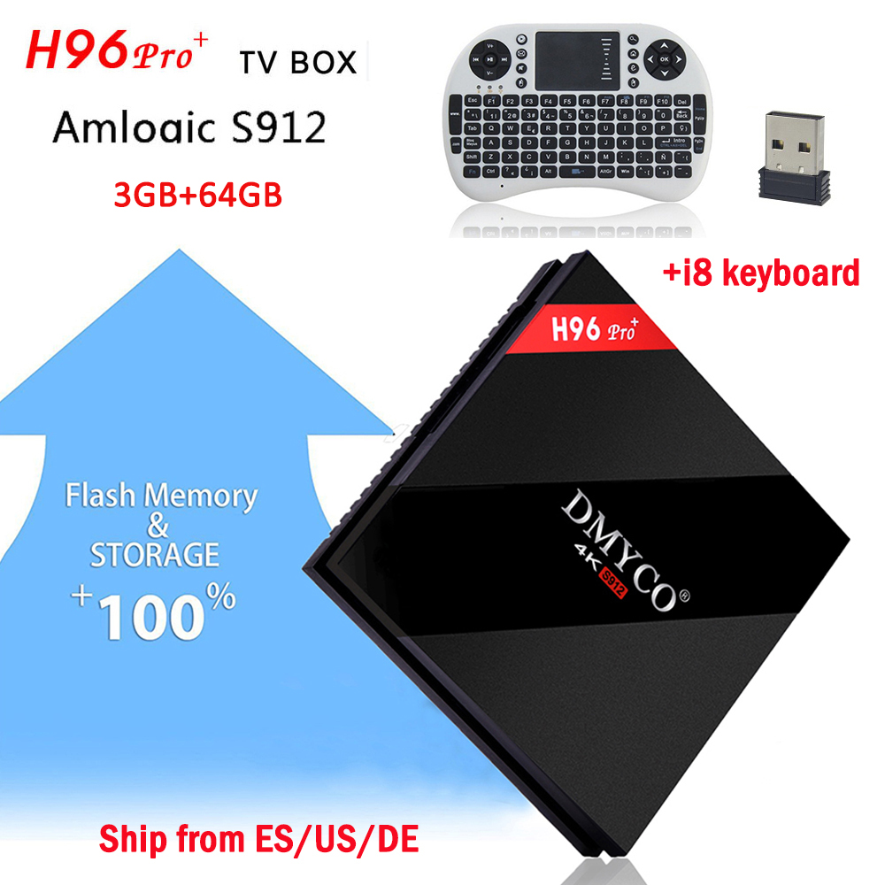 Best H96 pro Plus Android 7.1 Smart TV Box 4K ultra HD 3GB 64GB Amlogic S912 +French/English/Russian/Spanish/German i8 Keyboard
