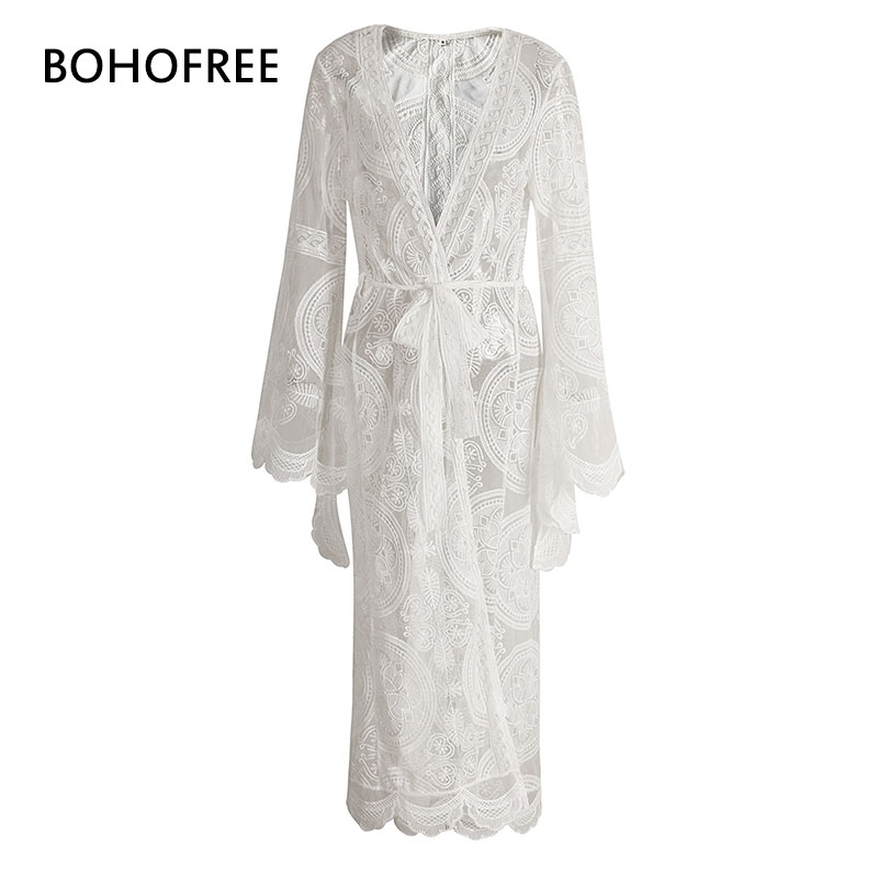 MANDALA MANTRA KIMONO Embroidery Cardigan Maix Hippie Long Gown Sashes Bell Sleeve Femme Holiday Beach Lace Dress Women