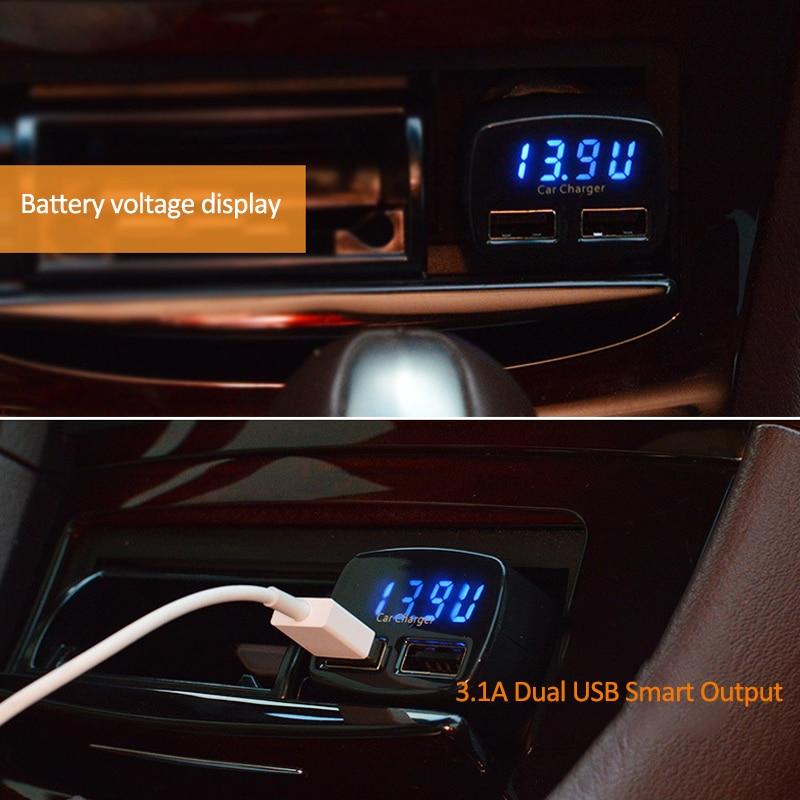 4 in 1 Caricatore per auto doppio USB Voltmetro Volt Misuratori di - Strumenti di misura - Fotografia 4
