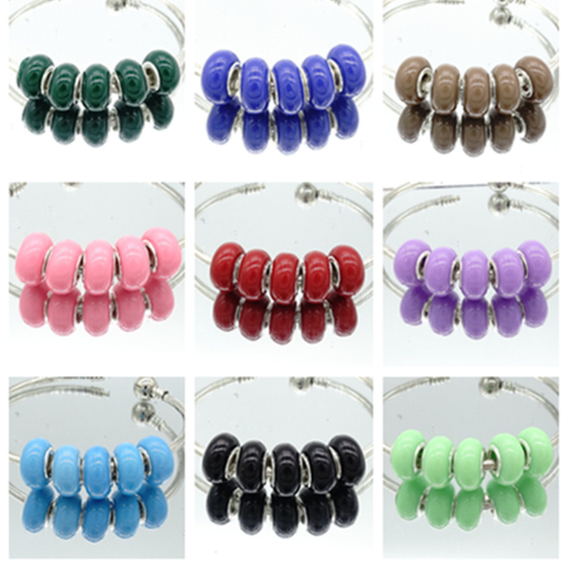 wholesale a lot 10pcs resin Silver European Czech Beads Fit For Pandor Charms Bracelet Chain 14mm