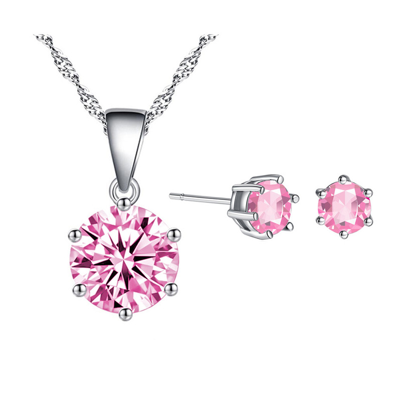 TJP 2018 Hot Sale Female Crystal Pink Round Earrings Sets For Girl Birthday Accessories Charm 925 Silver Necklace Women Gift
