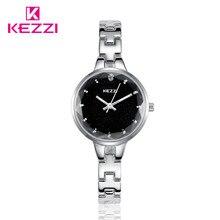 Minimalismo KEZZI Relojes de Las Mujeres Vestido de oro de Lujo Reloj de Acero Inoxidable reloj de cuarzo de Señora Simple Ocasional Mujer Femenina