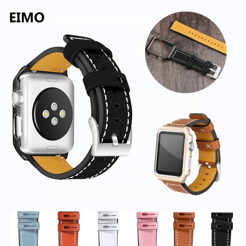 Leather strap For Apple watch band correa aplle watch 42mm 38mm bracelet wrist belt watchbands & metal case iwatch series 3 2 1 sport loop for apple watch band case 42mm 38mm nylon watch strap bracelet with metal frame protector case cover for iwatch 3 2 1