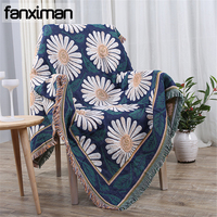 Bohemian Cotton Blanket Decorative Plaids Sofa Thick Throws Blankets for Beds Couch White Chrysanthemum Weaving Bed Sheet Cover