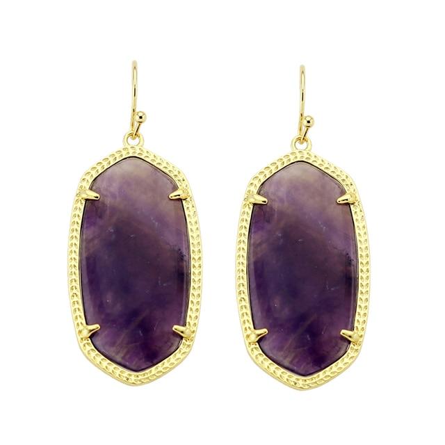 Trendy Ks Elle Semi Precious Stone Fashion Earrings In Chevron Modern Jewelry For Women Whole