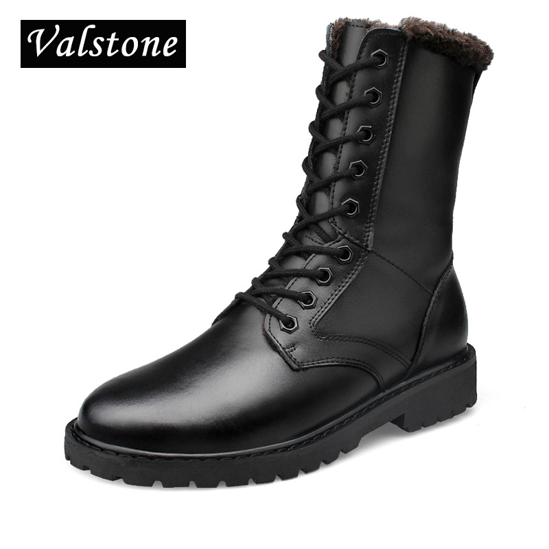 Valstone Men Hand made Combat boots Genuine Leather mid calf boots winter high tops fluff shoes