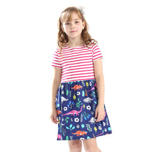 Little Bitty baby girls new cartoon dresses with printed some dinosaurs kids short sleeve striped summer 3-12T Clothing