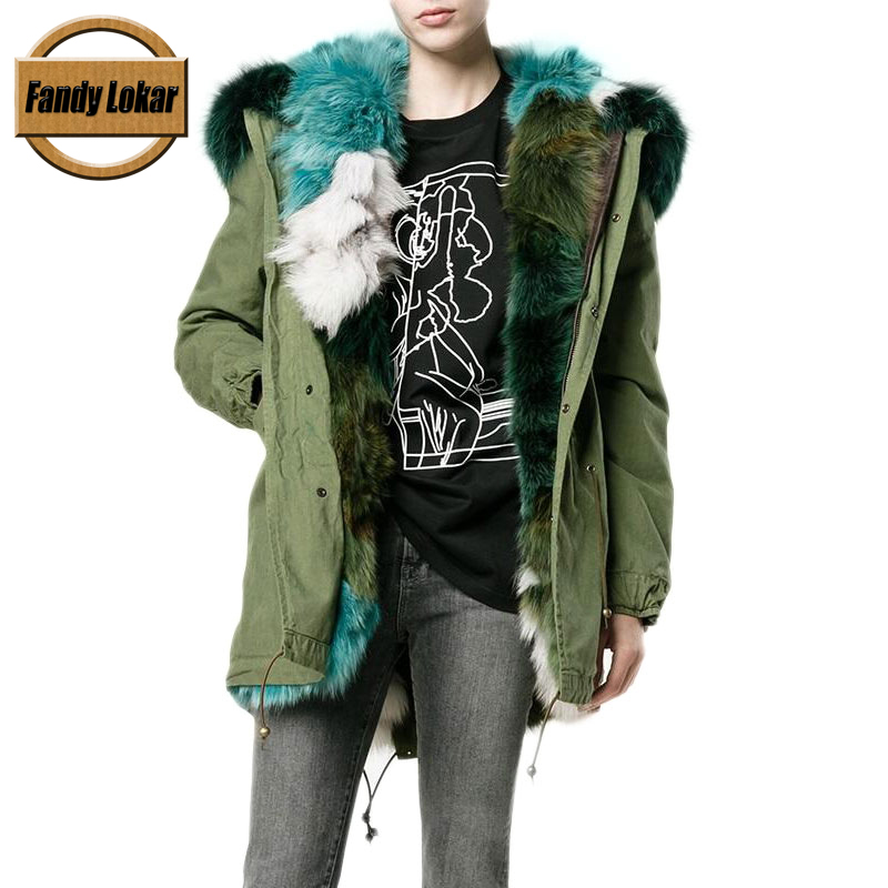 New Long Warm Raccoon Fur Collar Coat Women Winter Real Fox Fur Liner Loose Warm Jacket With Hat Women Fur Parka Female Ladies printed long raccoon fur collar coat women winter real rabbit fur liner hooded jacket women bomber parka female ladies fp896