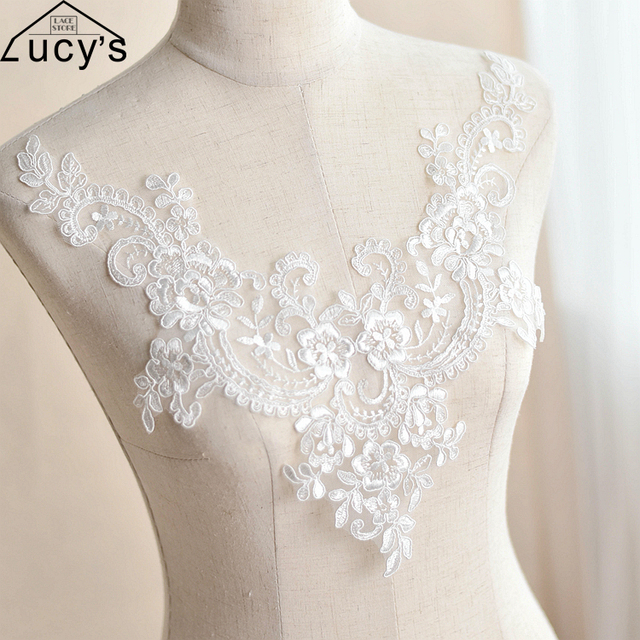 V Neckline Lace Patches 2 Pieces Off Whitelight Ivory Color