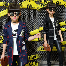 New Girls Coats 2016 Kids Autumn Jackets Children Plaid Coat Two Colors Fashion Toddler Long Style Number Pattern,3-14Y