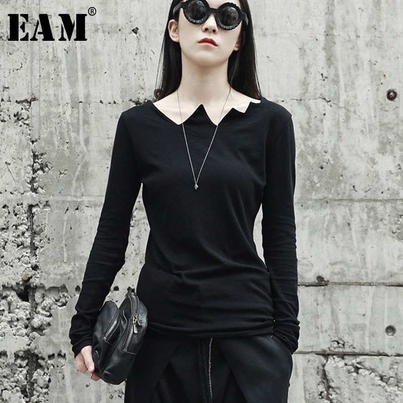 [EAM] 2020New Spring Autumn  Black Long Sleeve Asymmetrical Collar Wild Slim Bottoming Shirt Women Fashion Tide Tops LA922