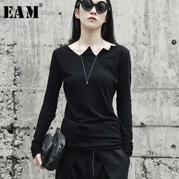[EAM] 2020New Spring Autumn Black Long Sleeve Asymmetrical Collar Wild Slim Bottoming Shirt Women Fashion Tide Tops LA922 - DISCOUNT ITEM  41 OFF Women\'s Clothing