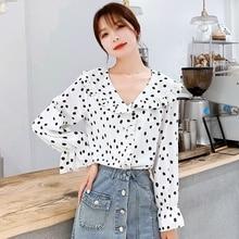 Blusas 2019 Autumn Women's Shirt Ruffled Dot Print Chiffon Shirt Blouses Plus Size Women Clothing цена и фото