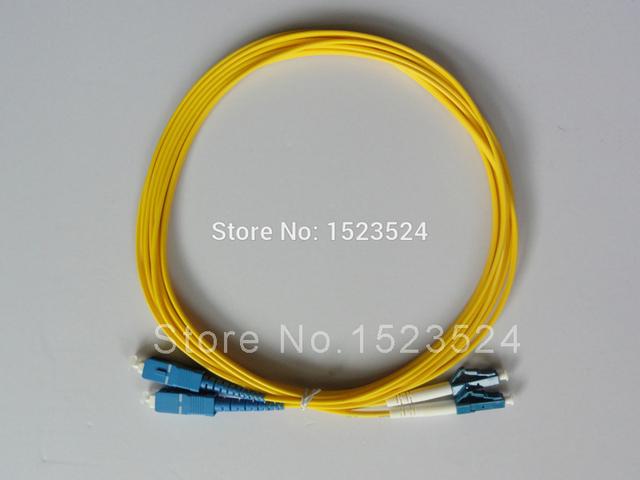 Envío gratis 5 unids/lote 2.0 mm 3 metros 9/125 SM Duplex LC / UPC a SC / UPC LC-SC de fibra óptica Patch Cord Jumper Cable
