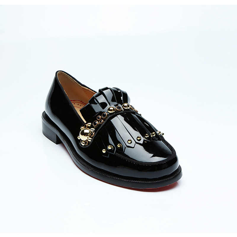 Gold Rivets Embellish Men Shoes Stylish Black Patent Leather Shoes Male  Loafers Low Top Solid Shoes a7c189987746