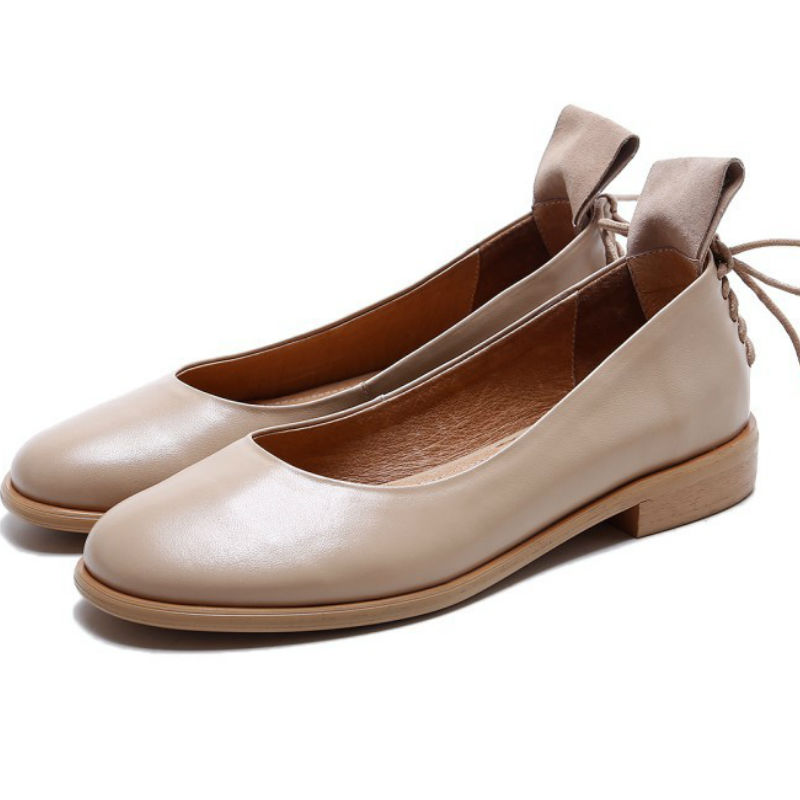 ФОТО Top quality 2017 spring summer Real cow leather flat heel single shoes ladies sweet round toe shallow pigskin liner flats shoes