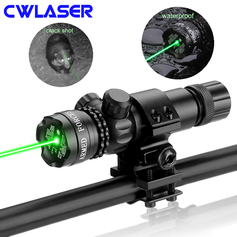 CWLASER 5mw 532nm / 650nm Green / Red Laser Gun Sight Scope With Rail & Barrel Mount and Pressure Switch цена