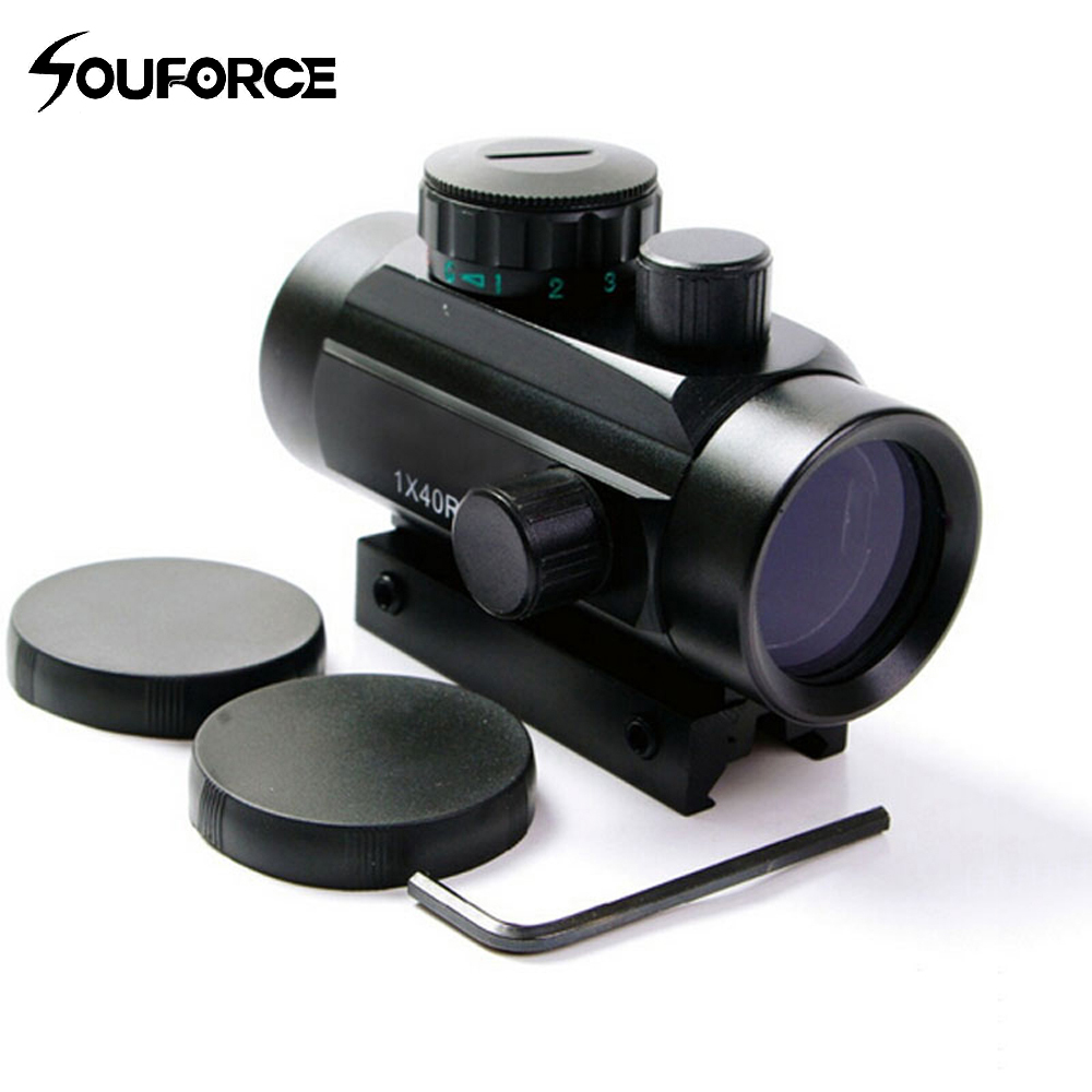 1X40 Tactical Holographic Red Green Dot Rifle Scope Sight For 11mm/20mm Picatinny/Weaver Mount Optical Sight Scope Red Dot Scope